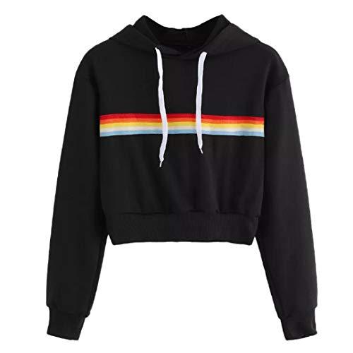 Sportiva Shirt Ragazza Camicette Pullover Nero Felpe Calcio Maglietta Crop T Donna Yoga Elegante Tumblr Corte Top Lunga Manica Sweatshirt Giacca Ragazza Fitness Rainbow Cotone qw1ApFwTx