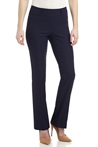Rekucci Women's Ease in to Comfort Fit Barely Bootcut Stretch Pants (14,Navy) ()