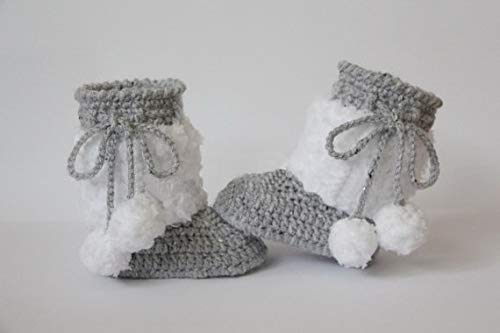 LooBooShop Crochet Baby Booties, Baby Shoes, Boots, Wings, Angel, White, Gray, Grey, Photo Prop, Baby Shower Gift 0-12month Size: 9cm,11cm - Best Wings In Dc