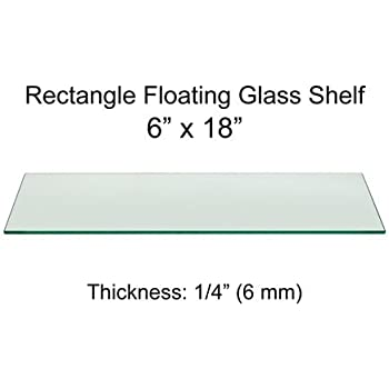 Amazon.com: Rectangle Floating Glass Shelf 6 x 18 Inch, 1/4 Inch ...
