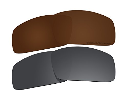 2 Pairs Polarized Replacement Lenses Brown & Black for Oakley Canteen (2006) - 2006 Sunglasses