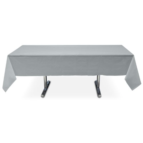 Online Stores, Inc. Plastic Table Cover Rectangle Silver