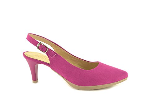 Salón by CBP - modelo 4890 - Zapato de ante destalonado con tacón en color Mostaza, Fuxia, Azul y Rosa Fuxia