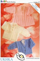 Double Knitting DK Pattern for Baby Long Sleeved Cardigans & Matinee Coat (UKHKA 2)