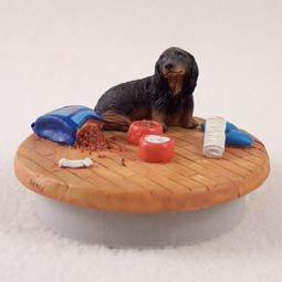 Conversation Concepts Miniature Dachshund Longhaired Black Candle Topper Tiny One ''A Day at Home''