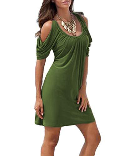 Cold Shoulder Short - EFexous Women Casual Summer Short Sleeve Cold Shoulder Dresses Green