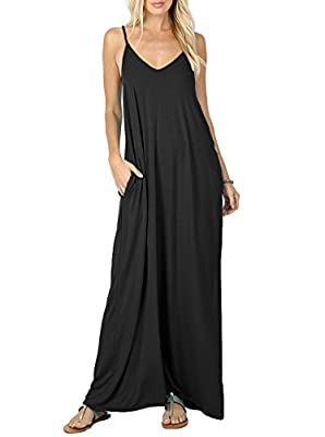 PrinStory Women's Summer Casual Flowy Pockets Loose Beach Cami Maxi Dress