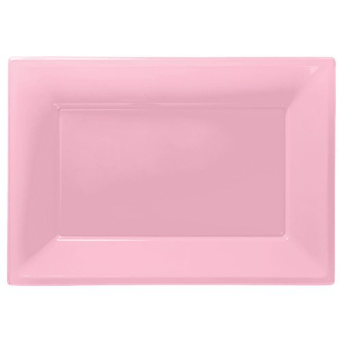 Amscan New Plastic 3 Serving Platters, Pink 997426