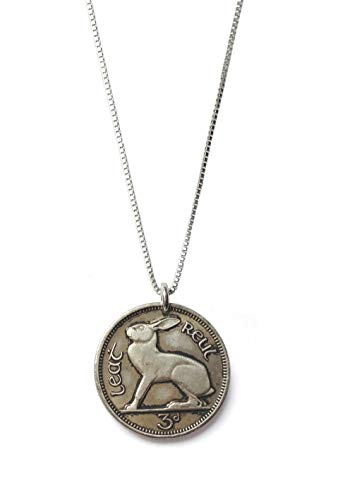 - Worn History Authentic Vintage Tiny Rabbit Threepence Irish Coin Necklace (1939-1968) (30 inches)