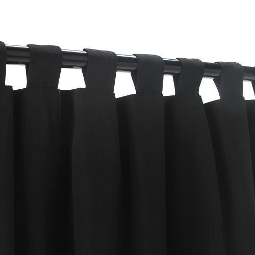 Sunbrella Outdoor Curtain with Tab Top - Black, 50x120 by Sunbrella by Sunbrella