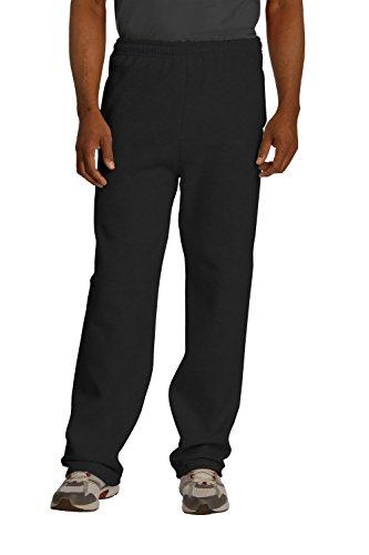 Sportoli® Men's Essential Basic Open Bottom Lightweight Fleece Jogger Sweatpants - Black (Size X-Large)