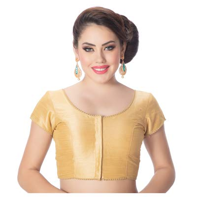 56969663ead1d Rinkoo Womens Designer Gold Raw Silk Princess Cut Short Sleeves Padded Readymade  Saree Blouse (C