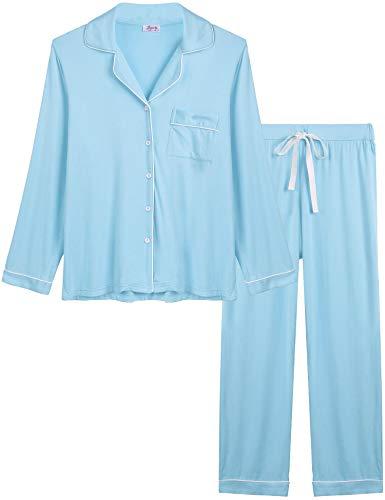 Joyaria Womens Soft Bamboo Pajama Sets Button Down Long Sleeve Pj Pants Set Sleepwear (Light Blue, Small) ()