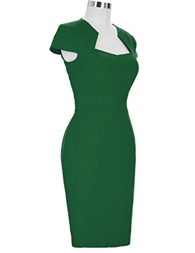 Retro Dress CL7597 Floral Nylon Green Spandex Vintage Cotton Pencil Dress Cap Sleeve Cocktail qRAw6UxX