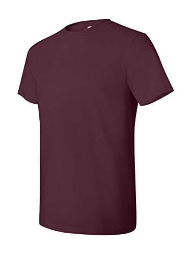 Hanes mens 4.5 oz. 100% Ringspun Cotton nano-T T-Shirt(4980)-Maroon-M-2PK
