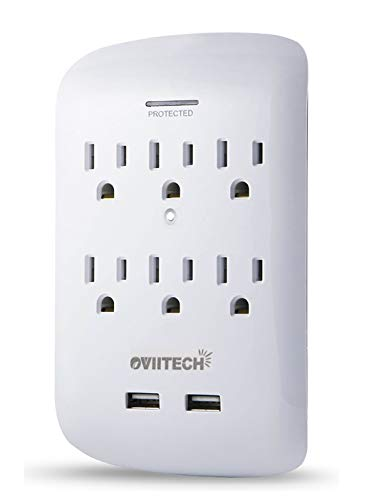 (6 Outlet Wall Adapter Tap with USB Charger, Dual 3.1A USB Port, Oviitech 3-Prong Wall Mount Outlet Plugs 900 Joules Surge Protector,ETL Listed,White)