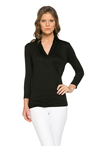 Laclef Women's Crossover Faux Wrap 3/4 Sleeve Pullover Blouse Top (X-Large, Black)