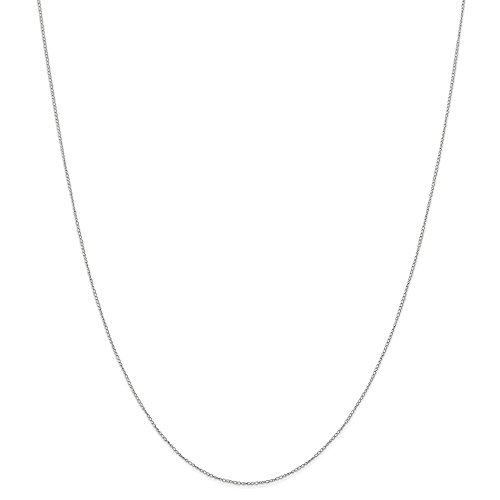 14k Gold Curb or Cuban Chain Necklace with Spring Ring (0.3mm) - White-Gold, 20 -