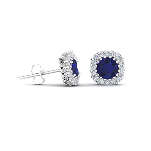 (Diamondere Natural and Certified Blue Sapphire and Diamond Halo Earrings in 14K White Gold | 1.34 Carat Earrings for Women)