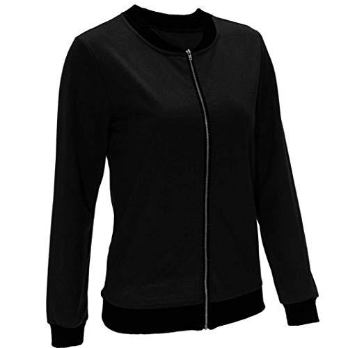 Primaverile Monocromo Con Autunno Outwear Especial Allentato Schwarz Maniche Coat Eleganti Donna Estilo Lunghe Giacche Giacche Leggero Cerniera Moda Sportivi RwqT5n1