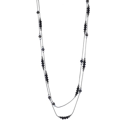 Black Beaded Necklace (Lux Accessories Gem Tone Black Beaded Station Break Double Row Long Necklace)