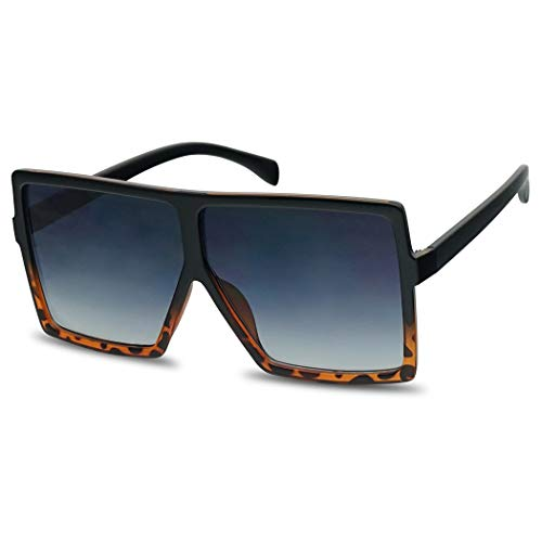 XL Extremely Oversize Slim Square Flat Top Shield Mod Sunglasses Designer Shades (Black Tortoise | Black Gradient)
