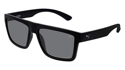 Óculos Puma PE0080S 001 PRETO Lente ESPELHADA CINZA Tam 57