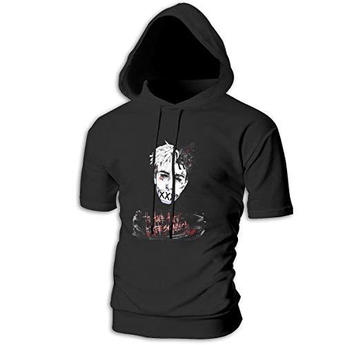 (MaleOP0_Tees Pullover Sad_XXX_Tentacion Hoodies for Men Short-Sleeved Men's Hoody Pocketless Hooded Sweatshirt Black)