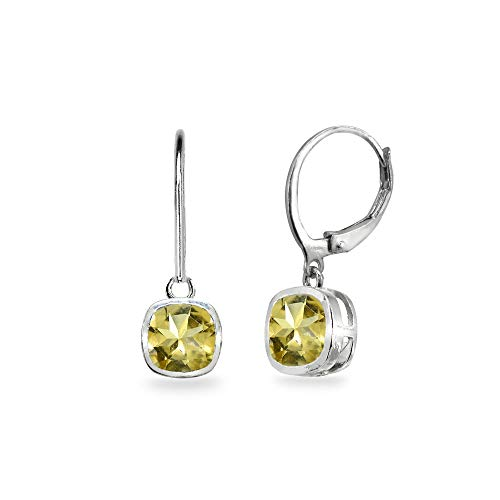 Sterling Silver Citrine 6mm Cushion-Cut Bezel-Set Dainty Dangle Leverback Earrings