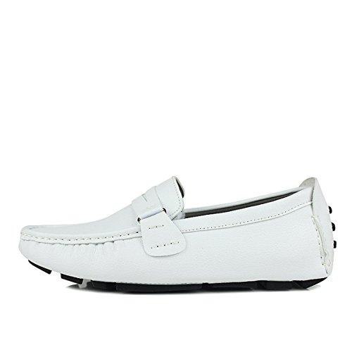 Calzado De Cczz Conducción 37 Eu Mocasines Comodidad Zapatos Cuero Casual Loafers Blanco Plano 45 Hombre 0YzqYwFR