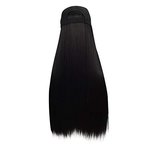 FeiFei66 Long Straight Wig Cap 30 inch Long Hair Baseball Cap Ball Caps Casual Hat with Wig Girls Fashion Black Wig ()