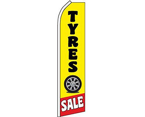 ALBATROS Tyres Sale Yellow Black Swooper Super Feather Advertising Flag for Home and Parades, Official Party, All Weather Indoors Outdoors