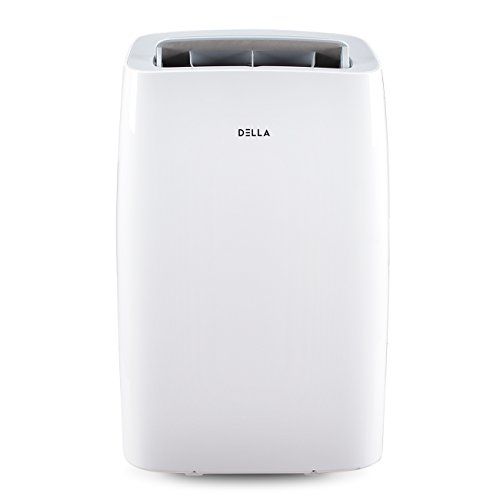 (DELLA 14000 BTU Portable Air Conditioner 11000 BTU Home Heater Cool Fan 111 Pint Per 24Hr Dehumidifier for Rooms Up To 700 Sq. Ft. Self Evaporation LCD Remote Control Window Kit Wheels)