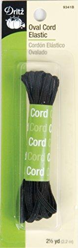 - Dritz 9341B Oval Cord Elastic, Black, 2-1/2-Yard