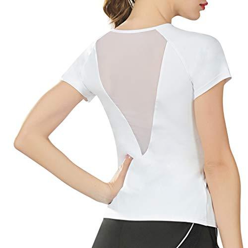 Yezijin_Women's Wear YEZIJIN Fashion Women Sports Yoga Fitness Workout Mesh Short Sleeve O-Neck T-Shirt Tops Blouses -