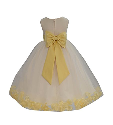 (Wedding Pageant Flower Petals Girl Ivory Dress with Bow Tie Sash 302a 12 )