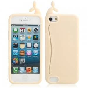 Cute Big Mouth Whale Silicone Protective Case for iPhone 5/5S Yellow