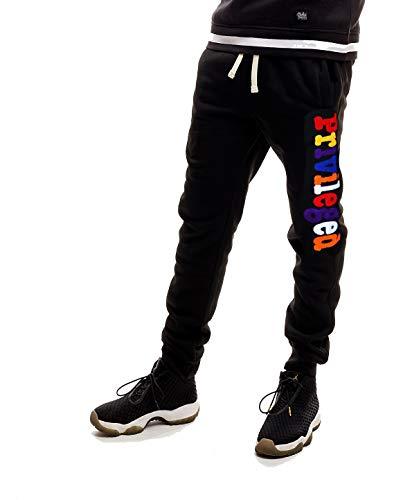 SCREENSHOT SPORTS-P11977 Mens Premium Hip Hop Fashion Pockets Fleece Pants - Athletic Jogger Chenille Embroidery Fitness Utility Sweatpants-Black-Large