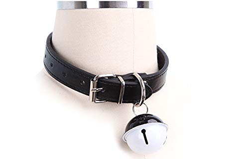 SUPER Q Handmade Cosplay Choker Necklace Lolita Kitty Bell Collar Leather Bow Chokers Black