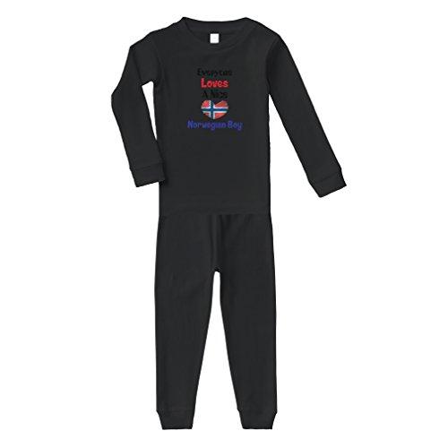 Cute Rascals Everyone Loves A Nice Norwegian Boy Norway Norwegians Cotton Long Sleeve Unisex Sleepwear Pajama 2 Pcs Set Top and Pant - Black, 6 Months (Norway Pc)