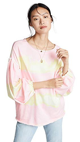 Free People Women's Feels Right Sweatshirt, Tulip, Pink, Stripe, Small (Terry Tie Dye)
