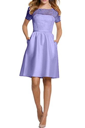 Ivydressing Damen Einfach Kurz Aermel A-Linie Rueckenfrei Satin&Tuell Festkleid Ballkleid Abendkleid Lila gtK0yI