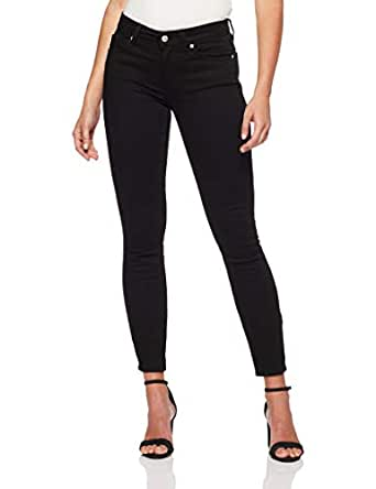 Calvin Klein Women's 011 Mid Rise Skinny Fit Jean, Eternal Black, 24