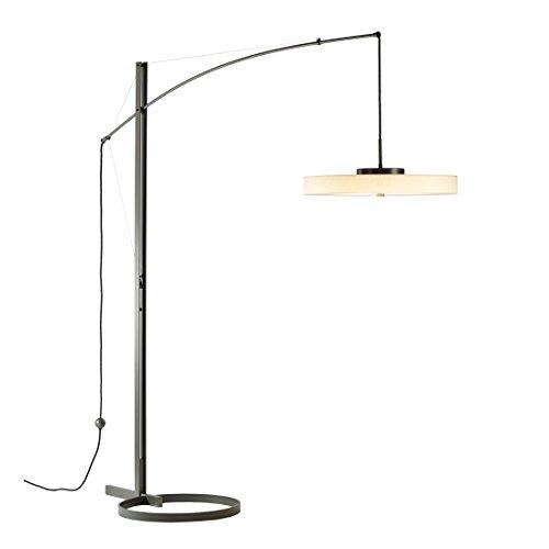 Hubbardton Forge 234510-1001 Disq Arc LED Floor Lamp Spun Frost, Gloss White Finish