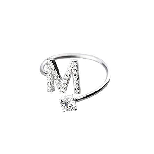 Designer Initials Ring - nanzhushangmao Letter Rings for Women Girls, Adjustable Initial Ring A-Z Silver Rings Women Ring Engagement Rings Open Rings