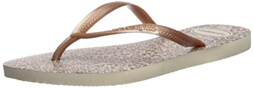 Havaianas Women's Slim Animals Flip Flop Sandal,Beige/Rose Gold/Rose Gold, 35/36 BR(5-6 M US Women's)