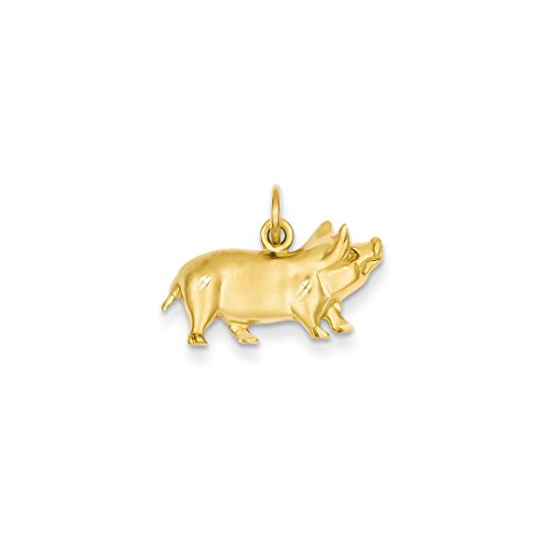 ICE CARATS 14k Yellow Gold Pig Pendant Charm Necklace Animal Fine Jewelry Ideal Mothers Day Gifts For Mom Women Gift Set From Heart (Pig 14k Yellow Gold)