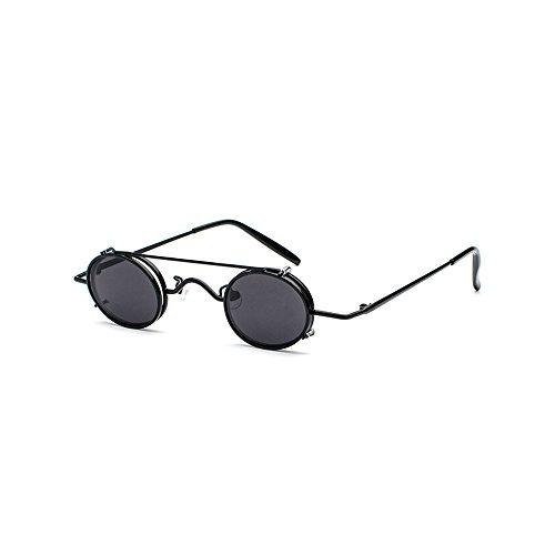 MINCL/Vintage Small Oval Punk Sunglasses Women/Men Fashion HD Lens Clip on Flat Sunglasses UV400 - Clip On Sunglasses Oval