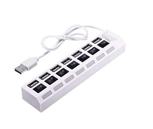 7 Port USB 2.0 Hub High Speed On//Off Switches AC Adapter 5Gbps for PC Laptop