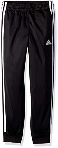 adidas Boys' Big Tricot Jogger Pant, Iconic Black, M (10/12) (Boys Lightweight Sweatpants)